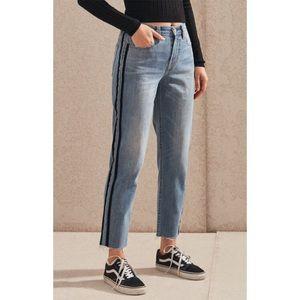 PacSun Black Stripe Raw Hem Mom Jeans